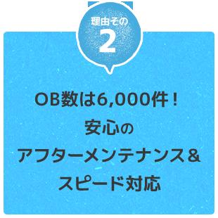 OB数は6,000件!安心のアフターメンテナンス&スピード対応